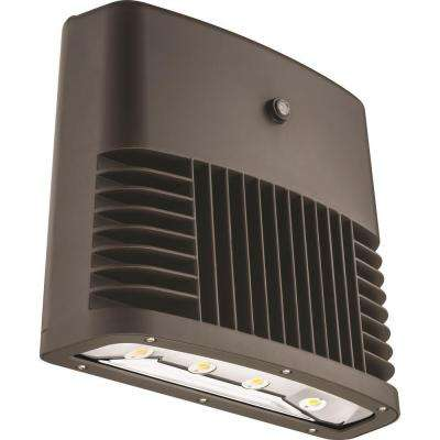 Dark Bronze 90-Watt 4000K Cool White Photocell Dusk to Dawn Outdoor LED Low Profile Wall Pack Light