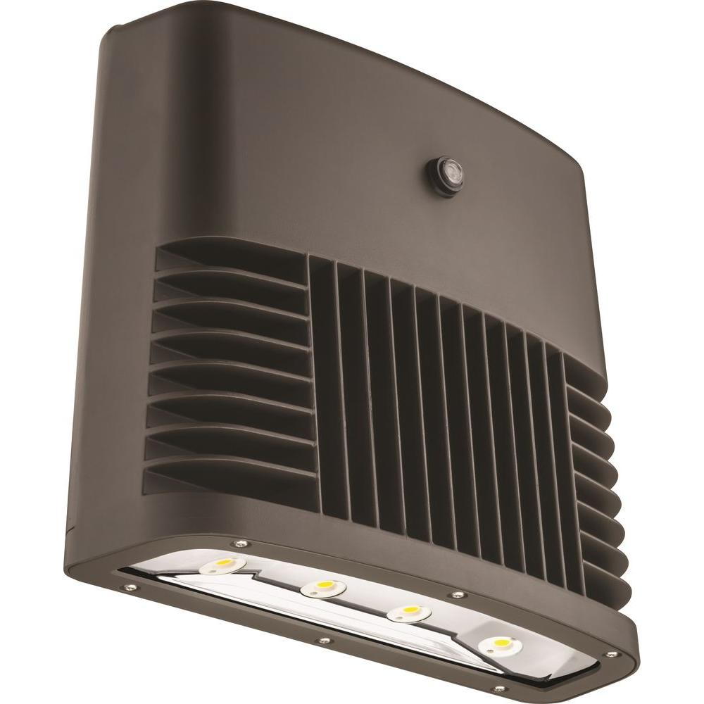Dark Bronze 90-Watt 4000K Cool White Photocell Dusk to Dawn Outdoor LED Low Profile Wall Pack Light