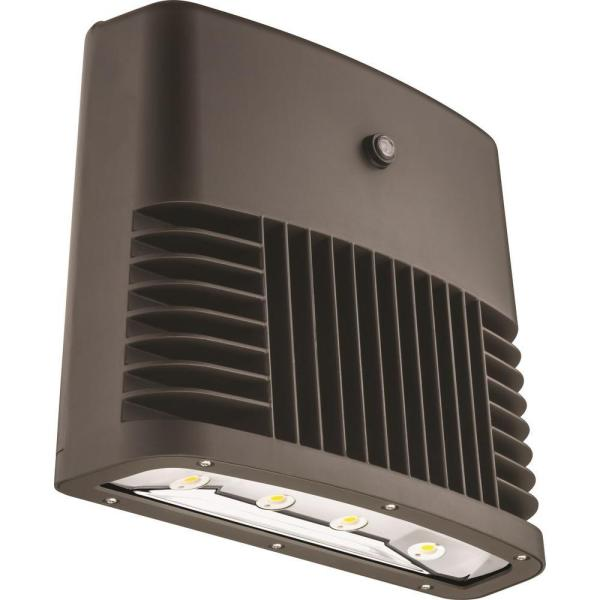 Dark Bronze 90-Watt 5000K Daylight White Photocell Dusk to Dawn Outdoor LED Low Profile Wall Pack Light