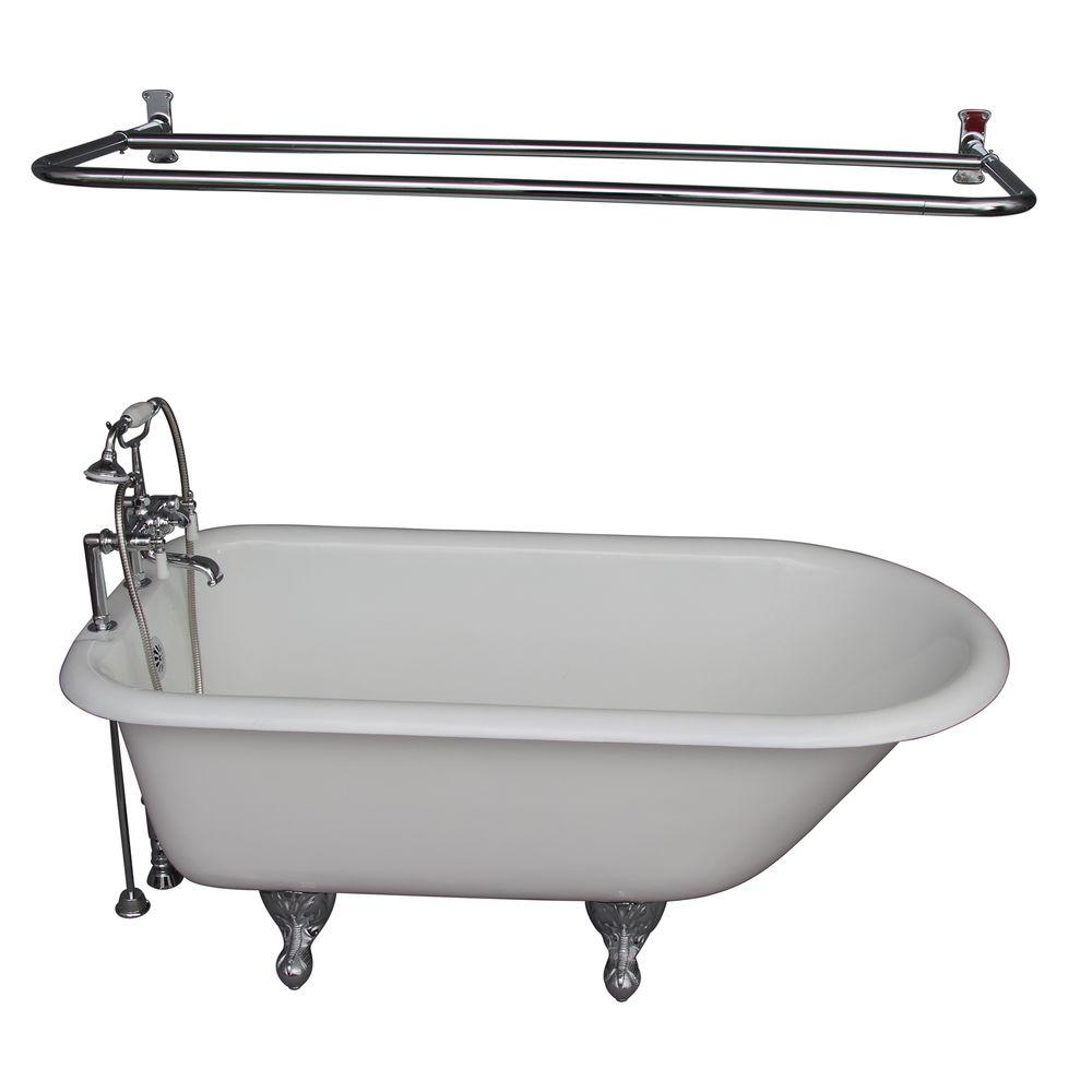 Barclay Products 5.6 ft. Cast Iron Roll Top Bathtub Kit in White with Polished Chrome Accessories