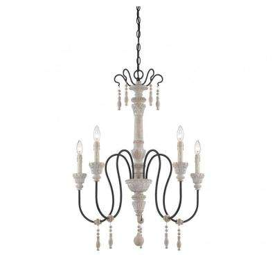 Ayana 5-Light White Washed Driftwood Chandelier
