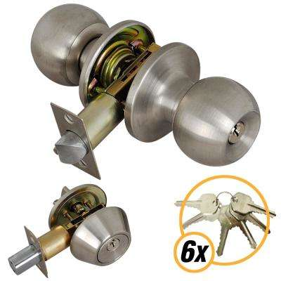 Stainless Steel Entry Door Knob Combo Lock Set with Deadbolt and 6 Keys