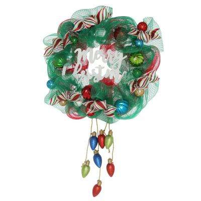 24 in. Merry Christmas Mesh Wreath