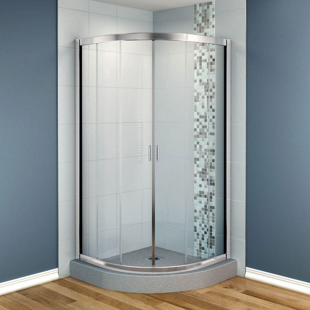 MAAX Intuition 32 in. x 32 in. x 70 in. Neo-Round Frameless Corner Shower Door with Clear Glass in Chrome Finish-DISCONTINUED