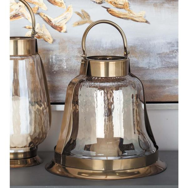 15 in. Silver-Finished Stainless Steel Glass Bell Candle Holder