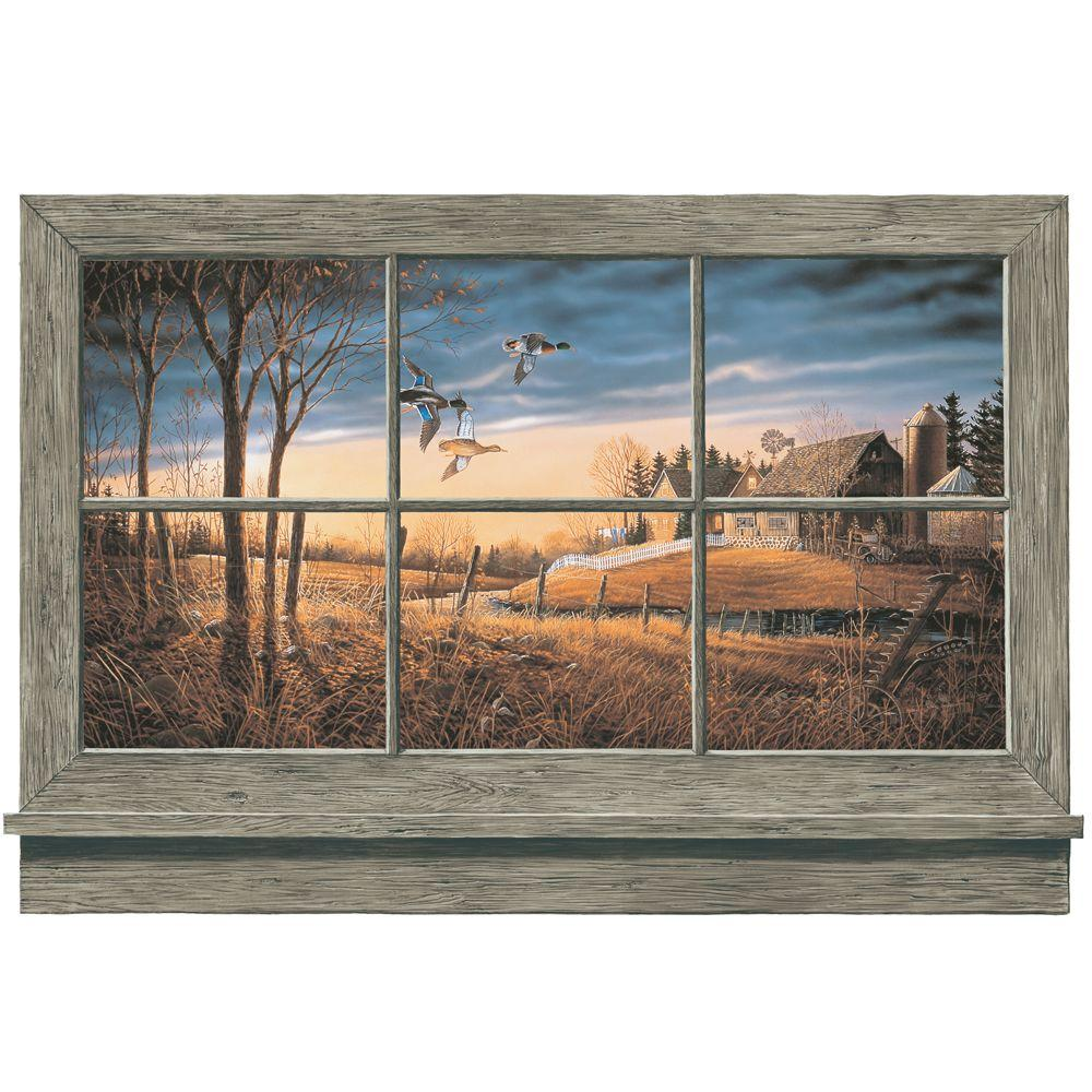 York Wallcoverings 36 in. x 27 in. Rustic Window Wall Accent Wall Mural