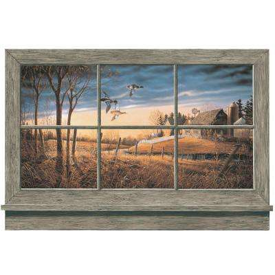36 in. x 27 in. Rustic Window Wall Accent Wall Mural
