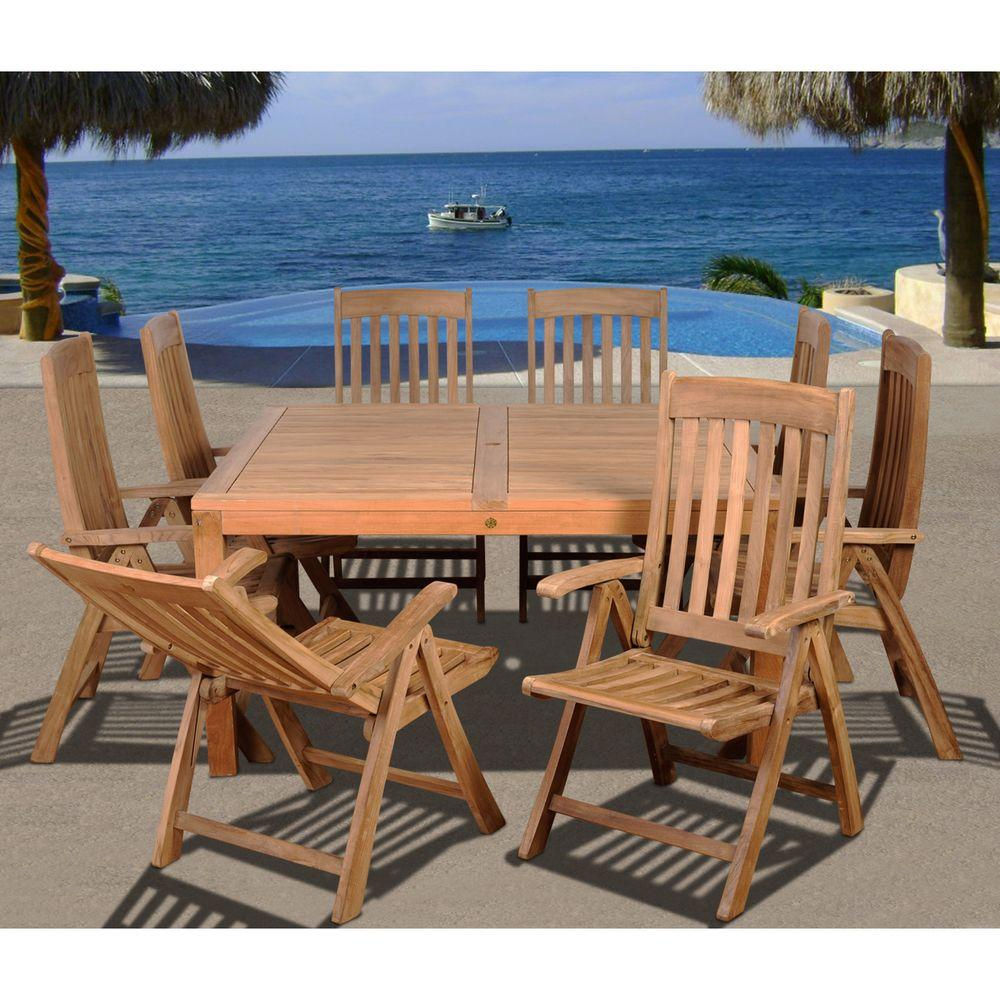 Amazonia Eiffel Square Piece Solid Teak Patio Dining Set - Teak patio table with leaf