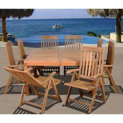 eiffel square 9piece solid teak patio dining set