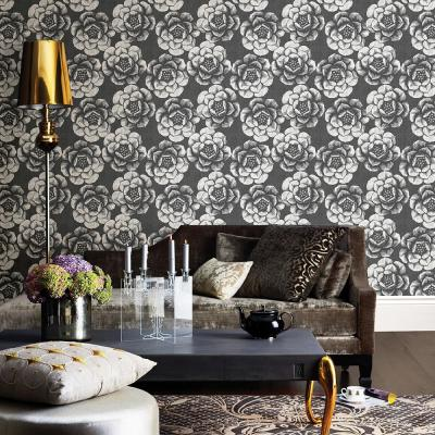 8 in. x 10 in. Fanciful Black Floral Wallpaper Sample