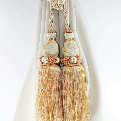 Handcrafted 27 in. L Dual Tassel Knit Curtain Tieback in Peach (2-Pack)