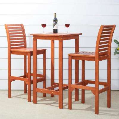 Malibu Outdoor 3-Piece Wood Square Outdoor Bar Height Bistro Set