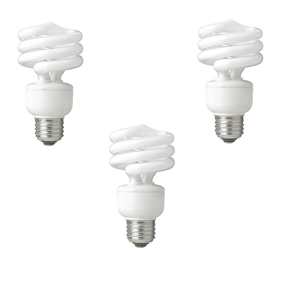40-Watt Equivalent Daylight Spiral Non Dimmable CFL Light Bulb (3-Pack)