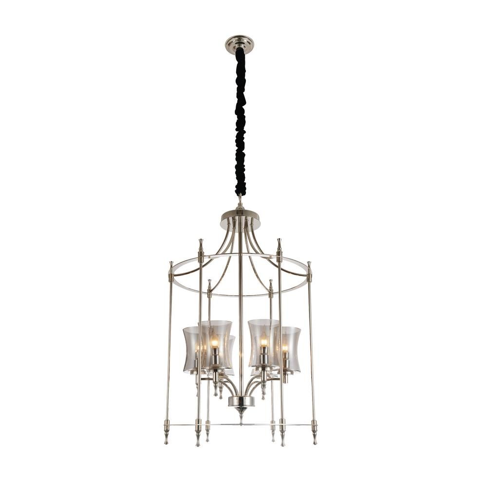 London 6 light chrome chandelier with clear shade 9859p22 6 604 london 6 light chrome chandelier with clear shade arubaitofo Gallery