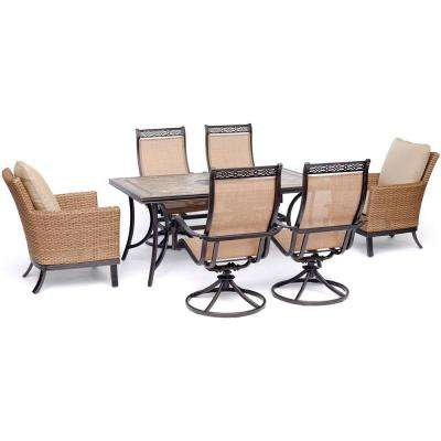 Monaco 7-Piece Aluminum Outdoor Dining Set with Tan Cushions, 2 Woven Armchairs, 4 Sling Swivel Rockers, Tile Table