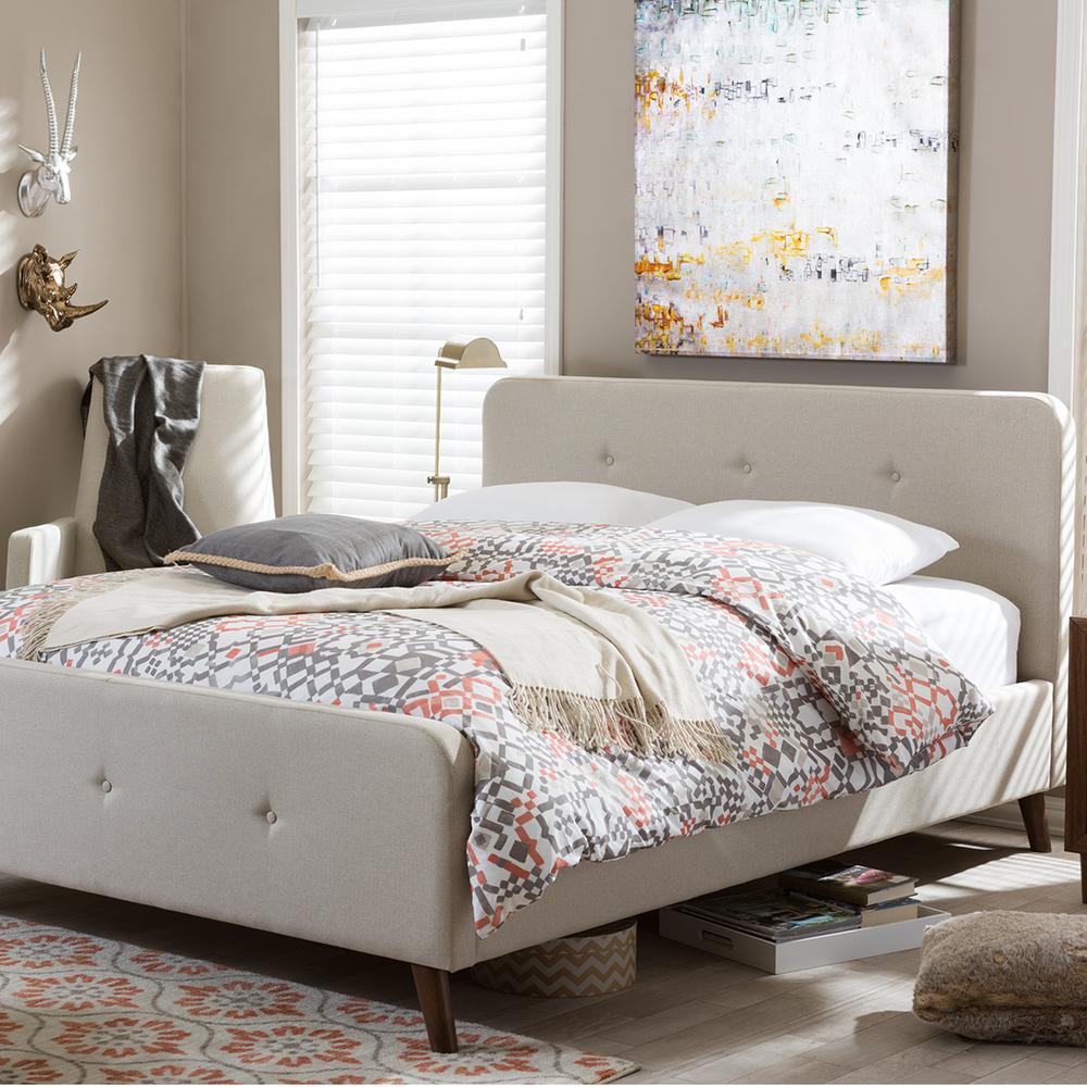 Laurio Beige Full Upholstered Bed