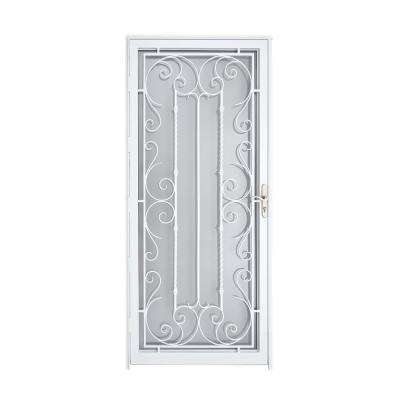 Palermo 36 in. x 80 in. White Full View Wrought Iron Security Storm Door with Reversible Hinging