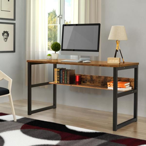 Boyel Living 55 1 In Computer Desk With Bookshelf Modern Office Desk With Storage Shelves And Workstation For Home Office Qh W29509756 The Home Depot