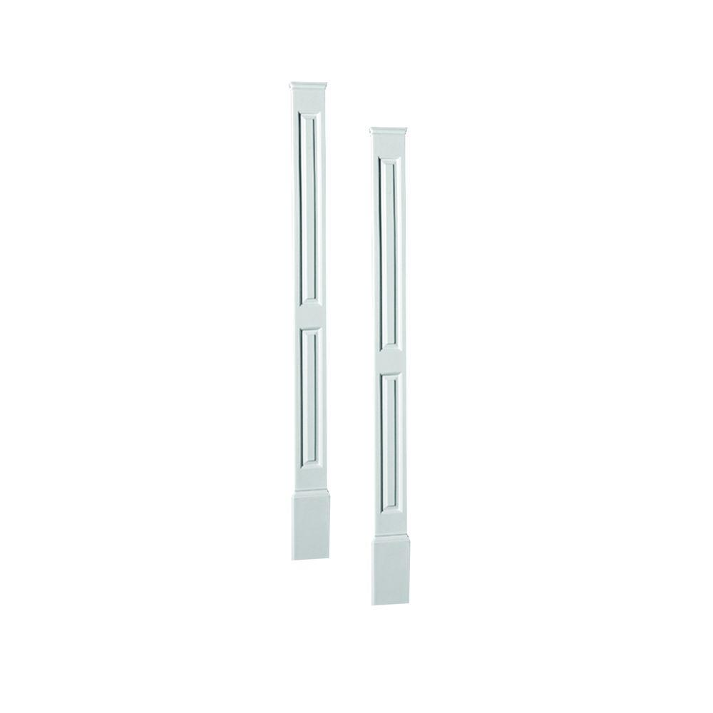 Fypon 7 in. x 1-5/16 in. x 90 in. Polyurethane Double Panel Economy Pilasters Moulded with Plinth - Pair