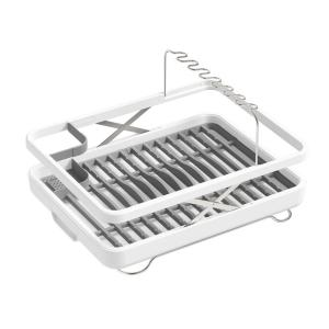 Collapsible Lift Dish Drying Rack/Basket in White