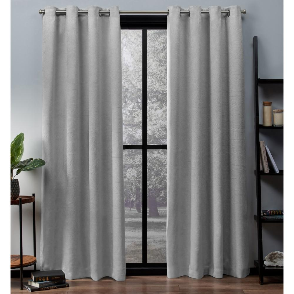 Oxford 52 in. W x 63 in. L Woven Blackout Grommet Top Curtain Panel in Silver (2 Panels)