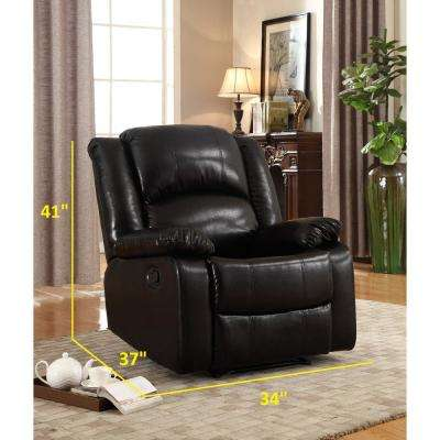 Perfect Bonded Black Leather Glider Recliner