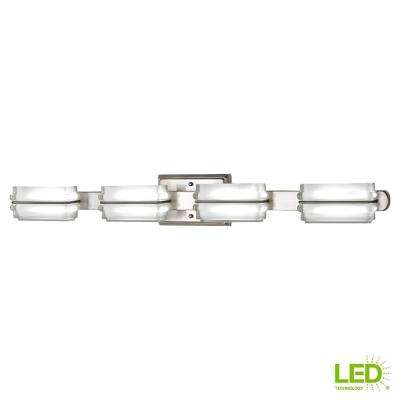 40-Watt Equivalent 4-Light Brushed Nickel Integrated LED Vanity Light with Clear Etched Glass