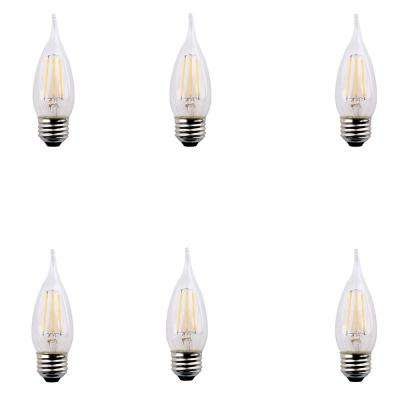 40-Watt Equivalent B11 Flame Tip E26 Base Dimmable Clear Glass Filament LED Light Bulb Daylight (6-Pack)