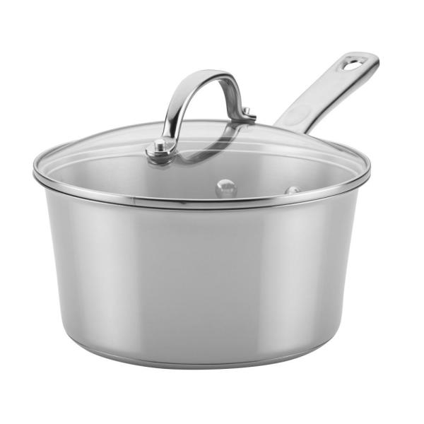 Ayesha Curry Home Collection 3 Qt. Stainless Steel Covered Saucepan 70203