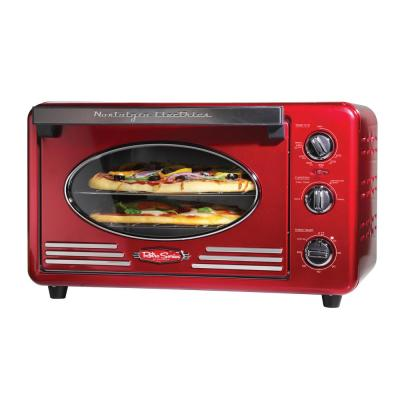 Retro 1500 W 12-Slice Retro Red Convection Toaster Oven with Built in Timer