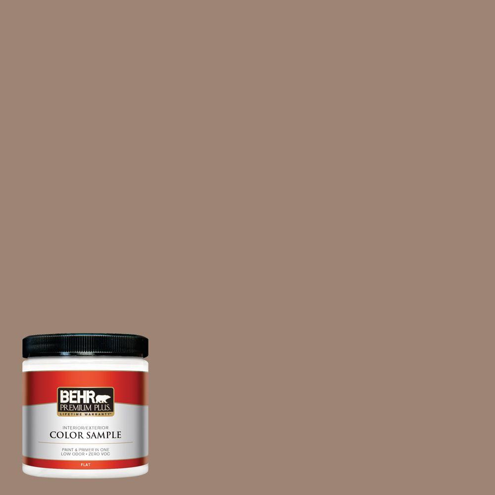 8 oz. #760B-5 Blanket Brown Flat Zero VOC Interior/Exterior Paint and