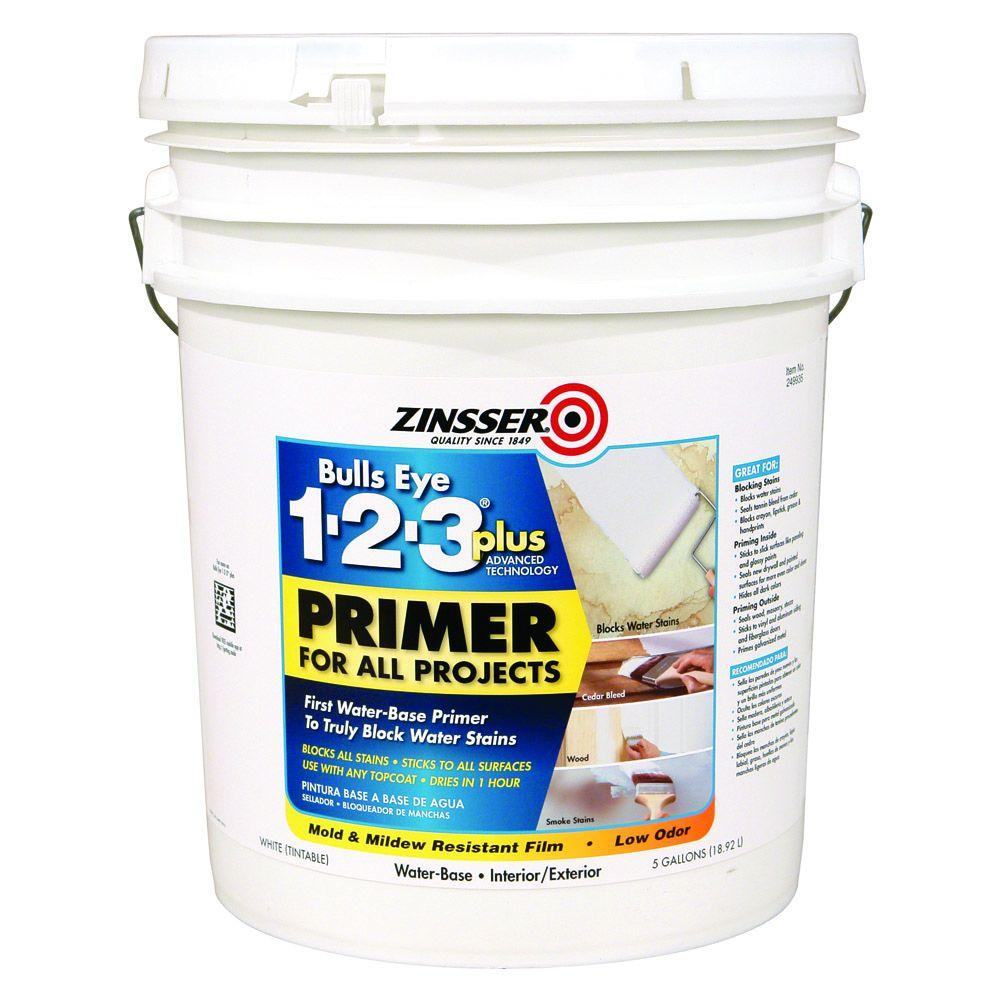 Bulls Eye 1-2-3 Plus 5 gal. White Water-Based Interior/Exterior Primer and