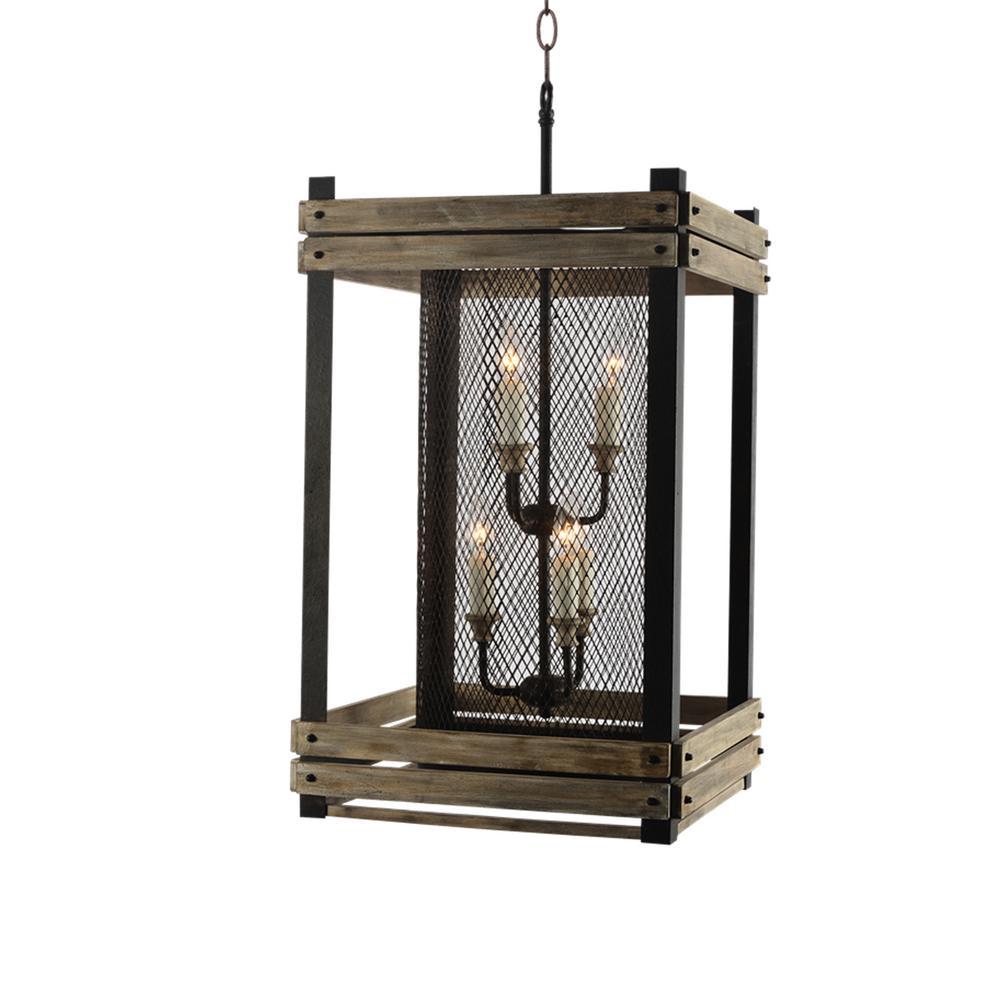 Farmhouse 6-Light Rustic Walnut Lantern