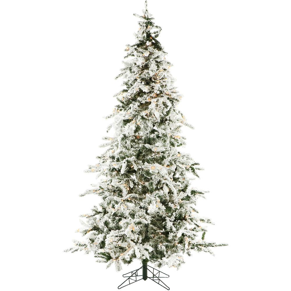 christmas time 75 ft white pine snowy artificial christmas tree with clear led string lighting - How To String Lights On A Christmas Tree