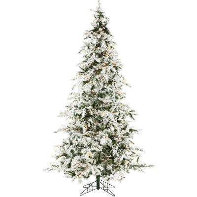 7.5 ft. White Pine Snowy Artificial Christmas Tree with Clear LED String Lighting