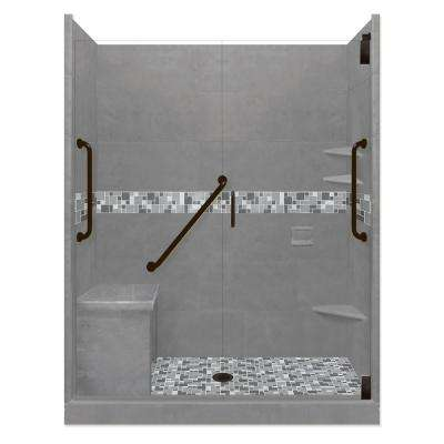 Newport Freedom Grand Hinged 32 in. x 60 in. x 80 in. Center Drain Alcove Shower Kit in Wet Cement and Black Pipe