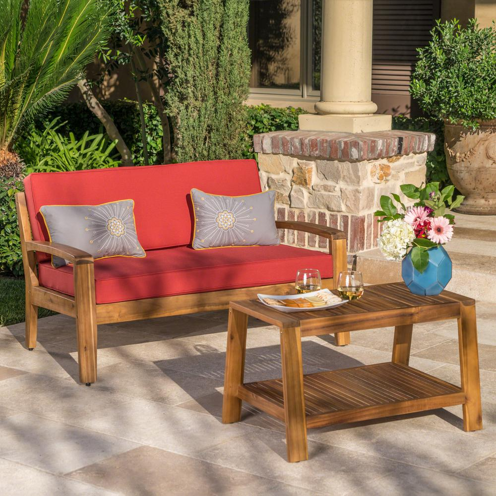 Magnificent Noble House Grenada Teak Brown 2 Piece Wood Patio Conversation Set With Red Cushions Unemploymentrelief Wooden Chair Designs For Living Room Unemploymentrelieforg