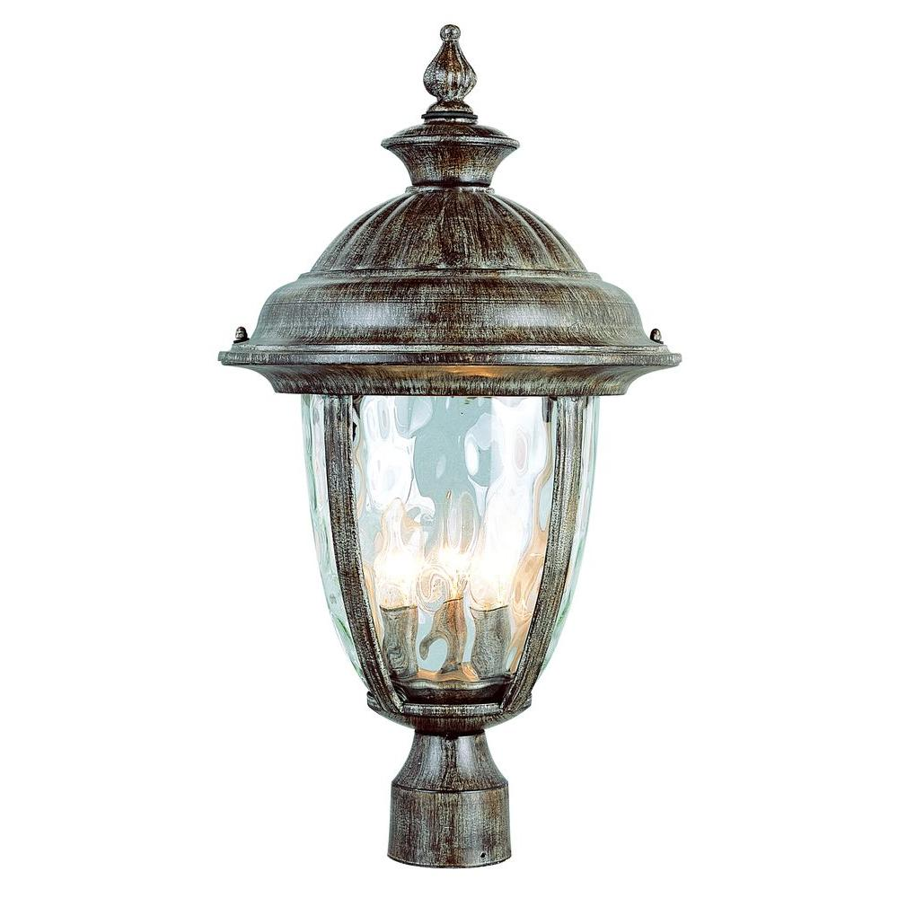Bel Air Lighting Stewart 3-Light Burnished Rust Outdoor Incandescent Post Light