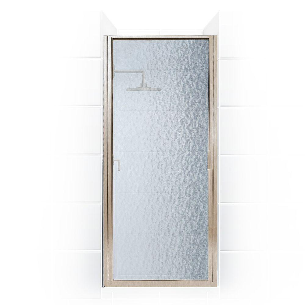 Coastal Shower Doors Paragon Series 24 in. x 65 in. Framed Continuous Hinged Shower Door in Brushed Nickel with Aquatex Glass