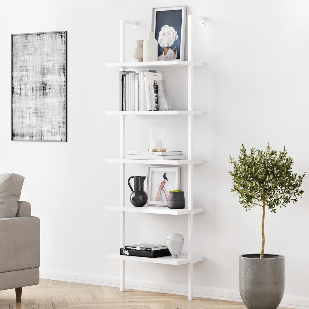 Theo 73 in. White Wood 5-Shelf Ladder Bookcase with White Metal Frame