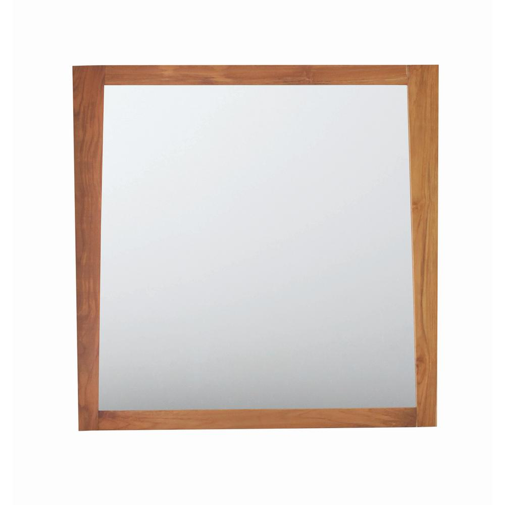 Significado 36 in. L x 35 in. H Single Solid Teak Framed Mirror in Natural Teak