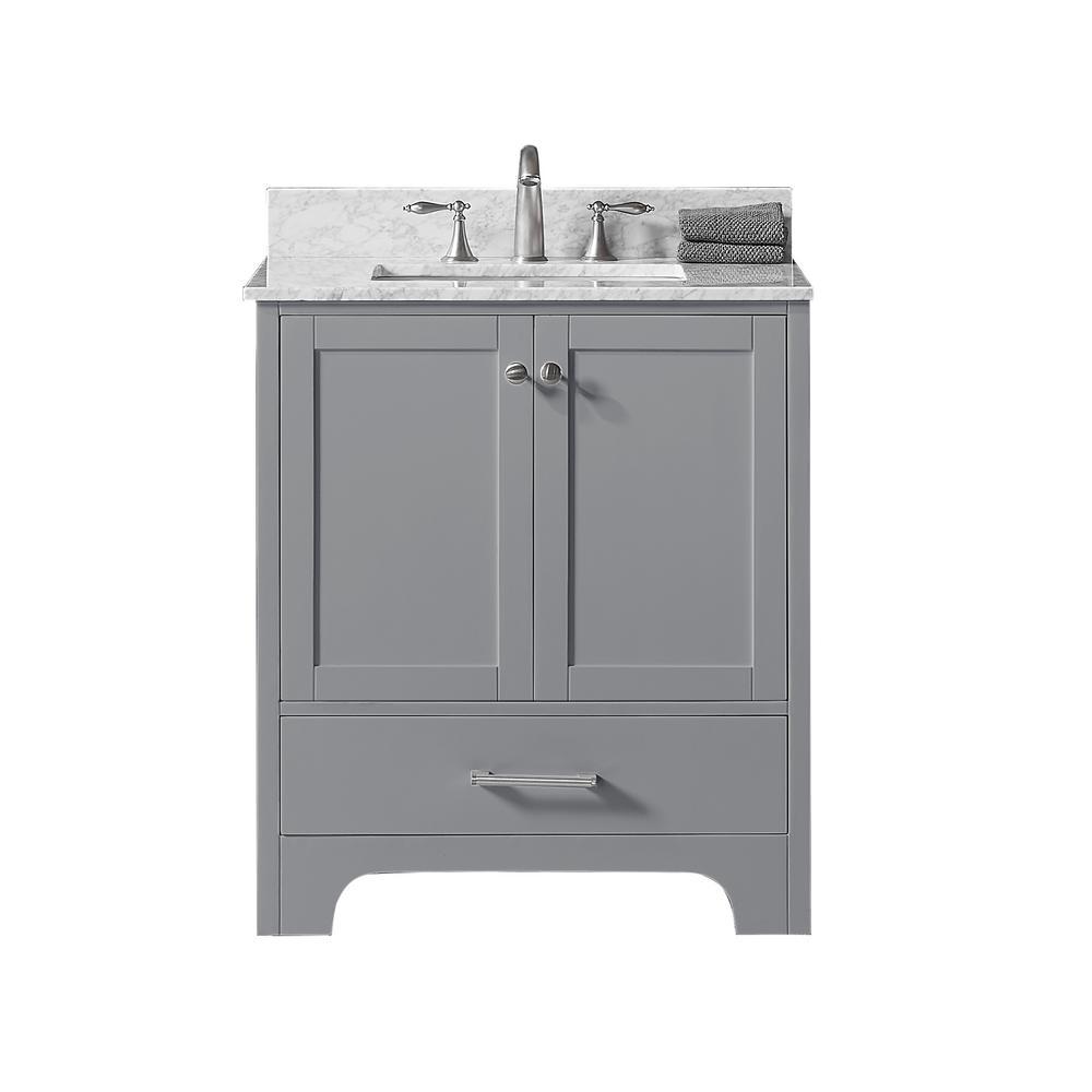30 in. W x 22 in. D x 34.2 in. H Bath Vanity in Taupe Grey w/ Carrara Marble Vanity Top in White w/ White Basin