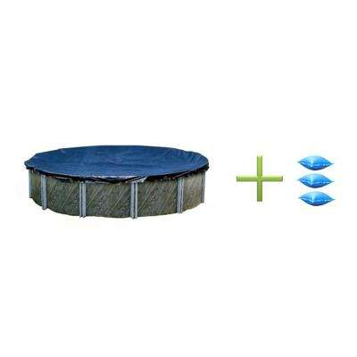 24 ft. Round Swimming Pool Winter Cover and Three 4x4 Air Closing Pillows