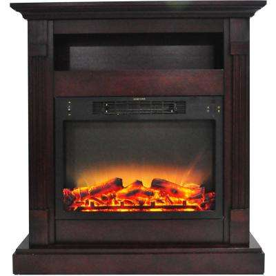 Sienna 34 in. Electric Fireplace with Enhanced Log Display and Mahogany Mantel