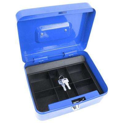 8 in. 8-Compartments Small Part Organizer Key Lock Blue Cash Box with Coin Tray