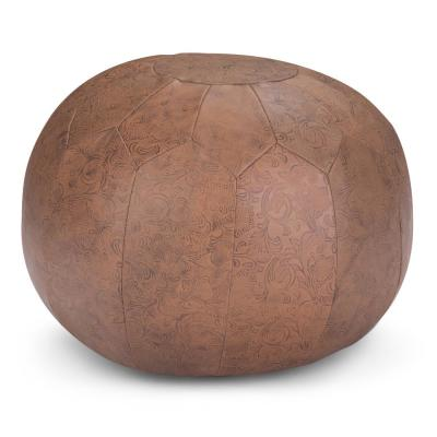 Drury Transitional Brown Patterened Leather Round Pouf