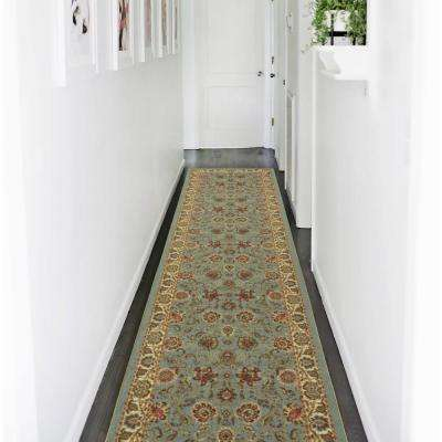 Ottohome Collection Traditional Floral Design Seafoam 3 ft. x 10 ft. Runner Rug