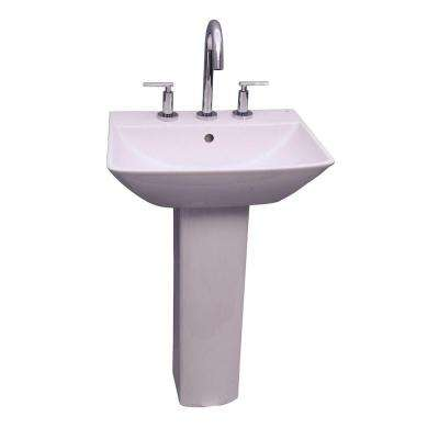 Summit 600 Pedestal Combo Bathroom Sink in White
