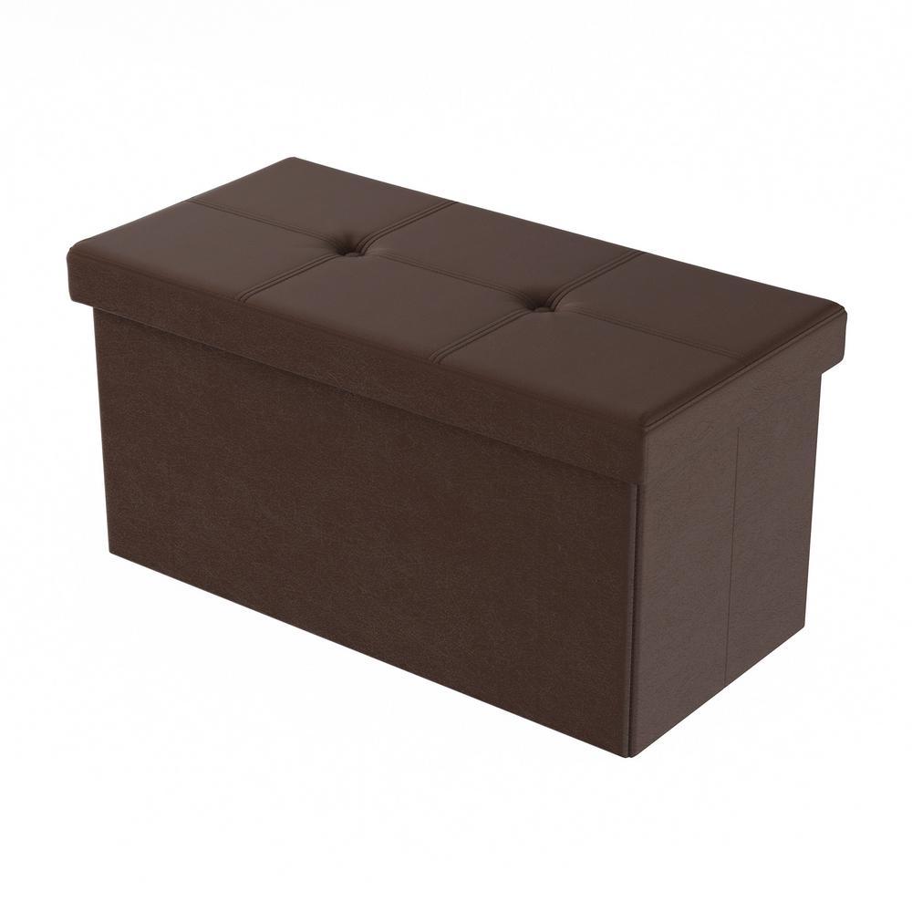 Lavish Home Brown Faux Leather Large Foldable Storage Bench Ottoman HW0200168