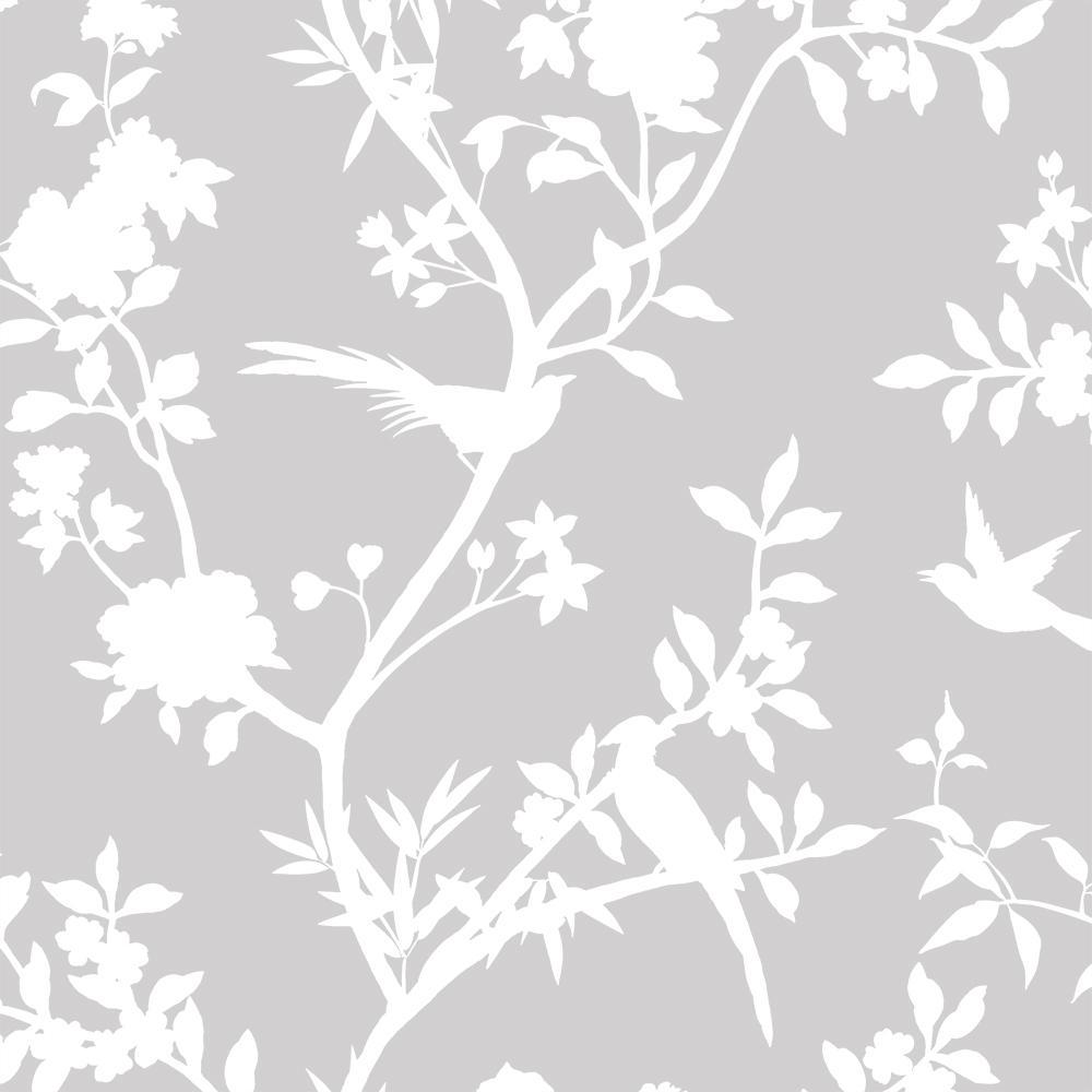 Tempaper Garden Affair Classic Grey Self-Adhesive Removable Wallpaper GA572